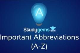 Important Abbreviations (A-Z)